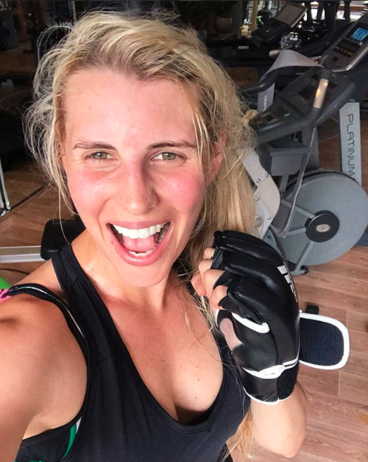 The fit mum revealed she's getting back into shape by taking her beautiful boy outside for walks in his pram and doing home workouts for 20 minutes a day, six times a week. Photo: Instagram/Tiffiny Hall