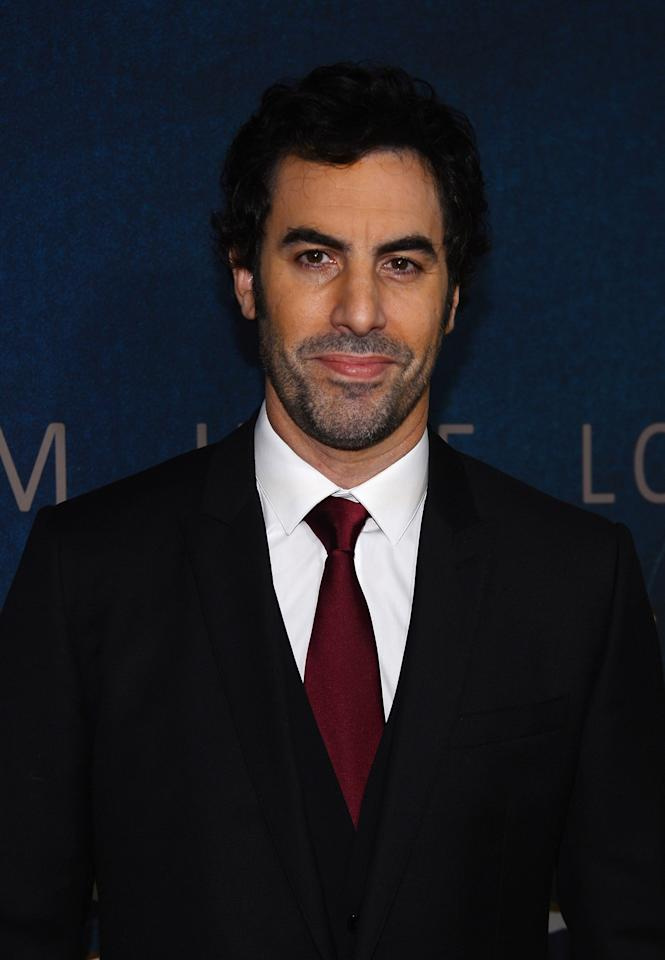 """NEW YORK, NY - DECEMBER 10:  Sacha Baron Cohen attends the """"Les Miserables"""" New York premiere at Ziegfeld Theatre on December 10, 2012 in New York City.  (Photo by Larry Busacca/Getty Images)"""