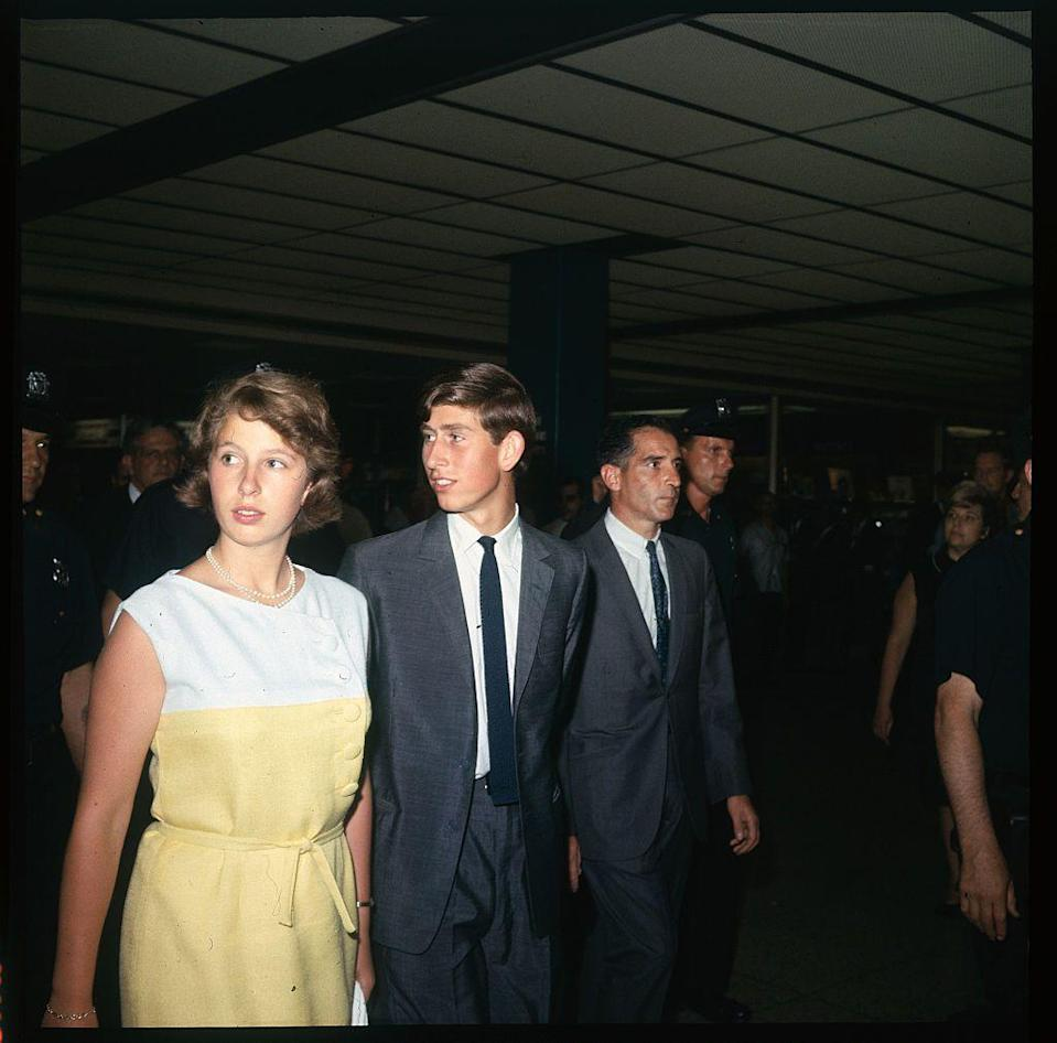 <p>With Prince Charles on a layover in New York City's JFK Airport. The family headed back to London after visiting Jamaica for the Commonwealth Games.</p>