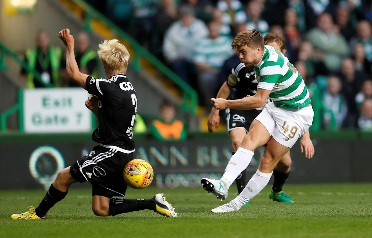 Soccer Football - Champions League - Celtic vs Rosenborg BK - Third Qualifying Round First Leg - Glasgow, Britain - July 26, 2017   Celtic's James Forrest shoots   REUTERS/Russell Cheyne