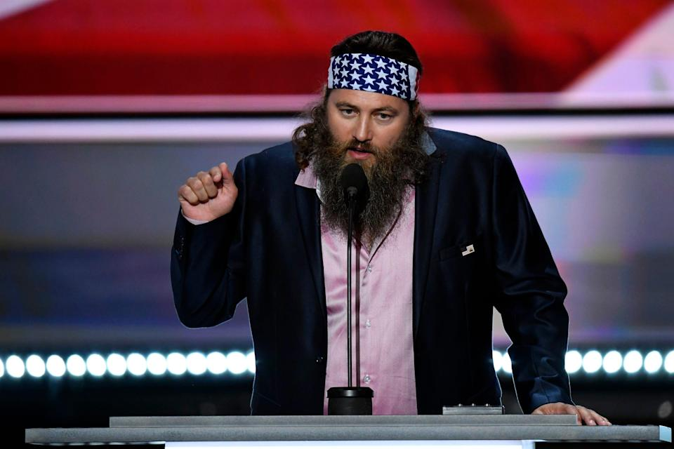 Willie Robertson from the show 'Duck Dynasty' speaks at the Monday evening session during the 2016 Republican National Convention at Quicken Loans Arena.
