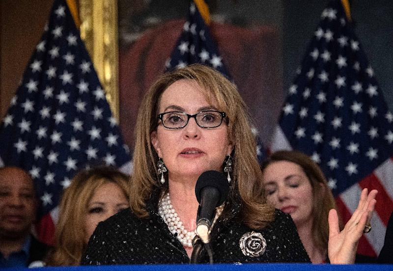 The bill has the backing of former congresswoman Gabrielle Giffords, who survived being shot in the head in January 2011 and is now one of America's leading gun control advocates (AFP Photo/NICHOLAS KAMM)