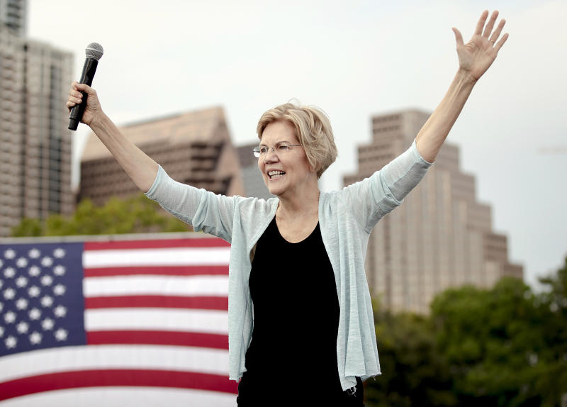 Democratic presidential candidate Elizabeth Warren, D-Mass., acknowledges her supporters during a rally on Tuesday, Sept. 10, 2019, in Austin, Texas. (Nick Wagner/Austin American-Statesman via AP)