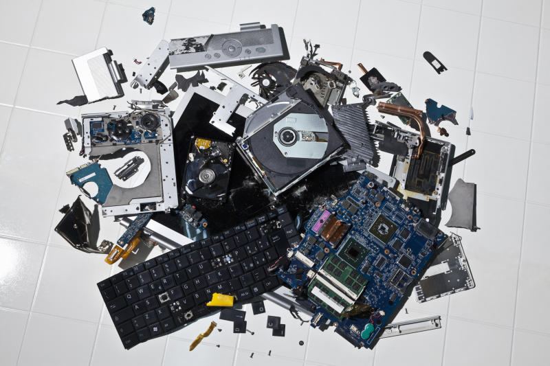 Pile of smashed computer parts