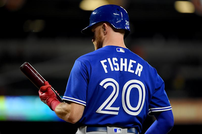 BALTIMORE, MD - AUGUST 02: Derek Fisher #20 of the Toronto Blue Jays at bat during the game against the Baltimore Orioles at Oriole Park at Camden Yards on August 2, 2019 in Baltimore, Maryland. (Photo by Will Newton/Getty Images)
