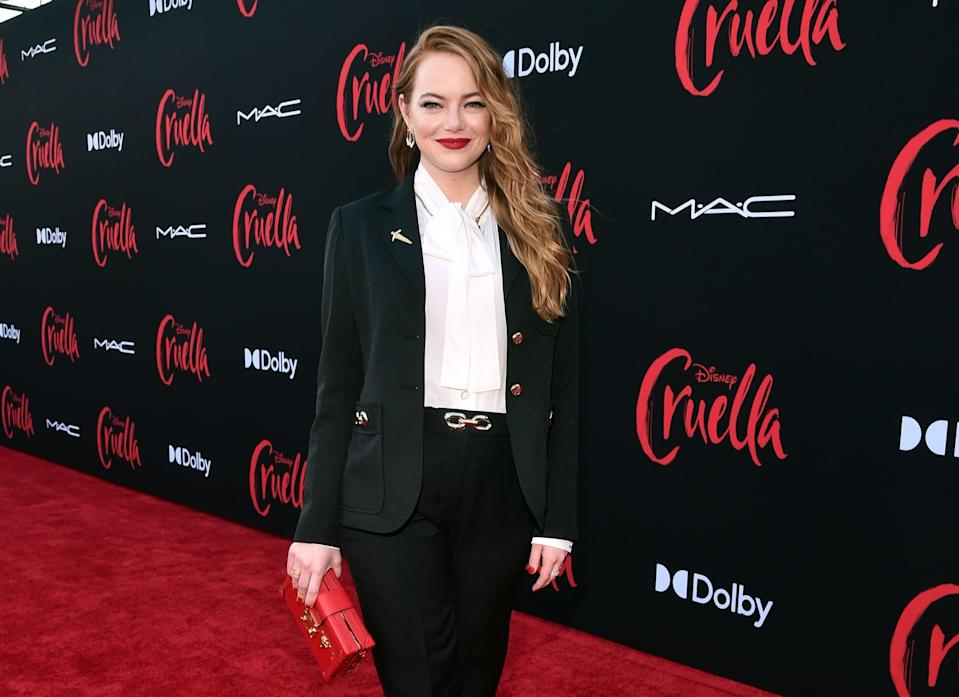 LOS ANGELES, CALIFORNIA - MAY 18: Emma Stone arrives at the premiere for Cruella at the El Capitan Theatre on May 18, 2021 in Los Angeles, California. (Photo by Alberto E. Rodriguez/Getty Images for Disney)