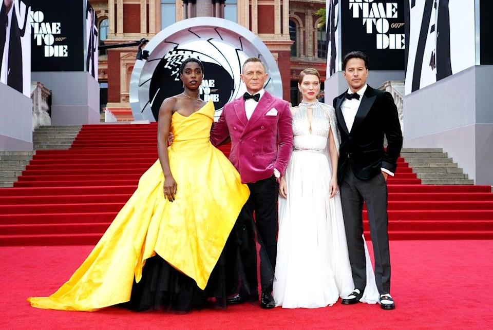 Stars Lashana Lynch, Daniel Craig, Lea Seydoux and director Cary Joji Fukunaga all attended the No Time To Die premiere in London (Ian West/PA) (PA Wire)