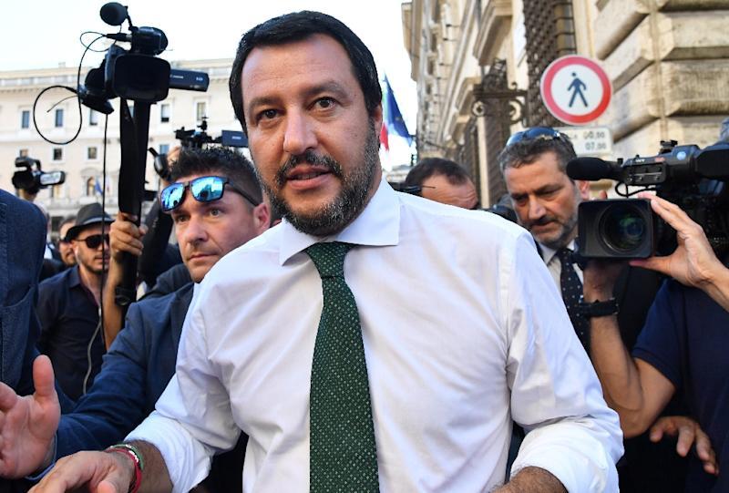 Italy's Interior Minister Matteo Salvini, pictured on June 1, 2018, entered a spat with Malta over ships helping to rescue migrants in the Mediterranean