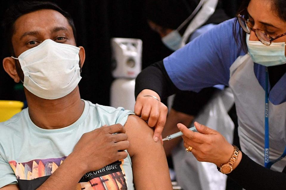 <p>One in four adults in the UK have now been fully vaccinated</p> (REUTERS)