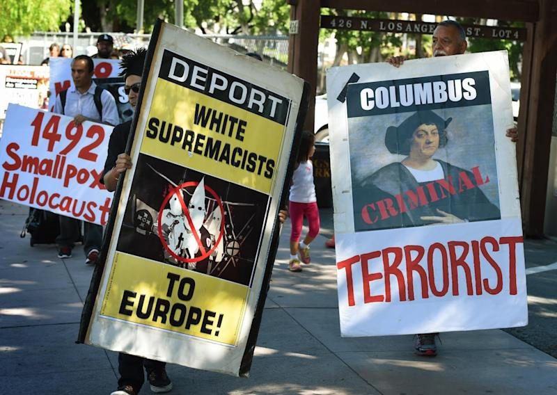 Demonstrators protest Columbus Day in Los Angeles. (Mark Ralston/Getty)