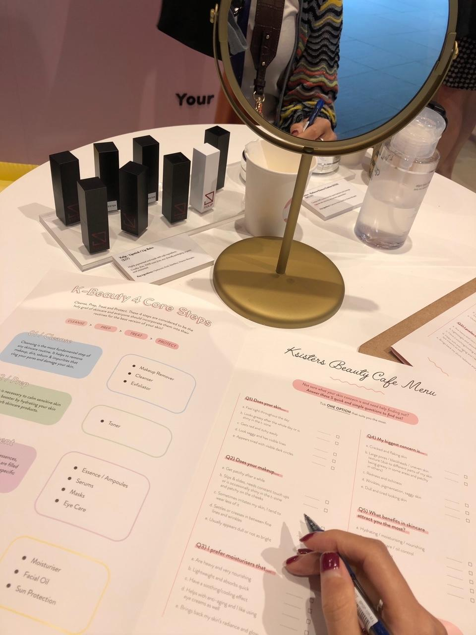The writer fills up a beauty questionnaire at the counter. (PHOTO: Reta Lee/Yahoo Lifestyle Singapore)