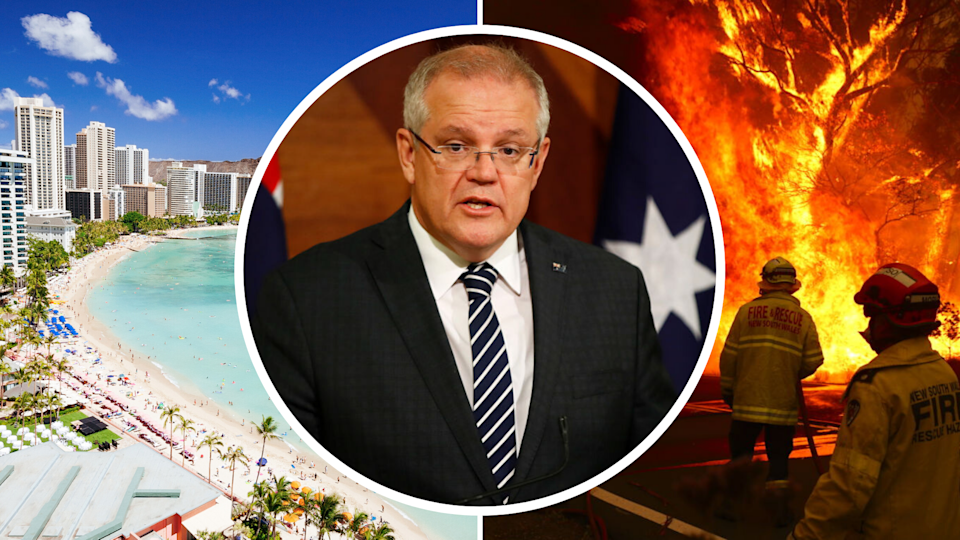 Pictured: Prime Minister Scott Morrison, NSW bushfires, Waikiki, Hawaii. Images: Getty