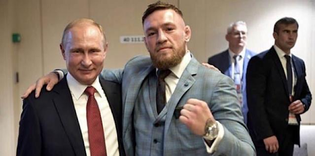 Vladimir Putin and Conor McGregor at the World Cup