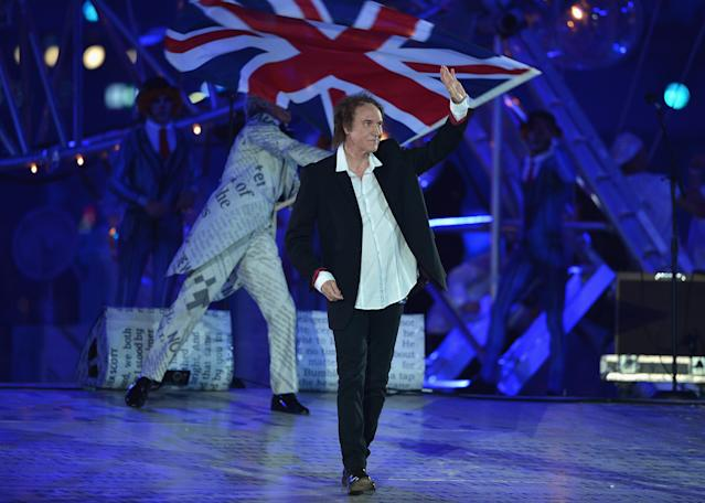 LONDON, ENGLAND - AUGUST 12: Musician Ray Davies during the Closing Ceremony on Day 16 of the London 2012 Olympic Games at Olympic Stadium on August 12, 2012 in London, England. (Photo by Jeff J Mitchell/Getty Images)