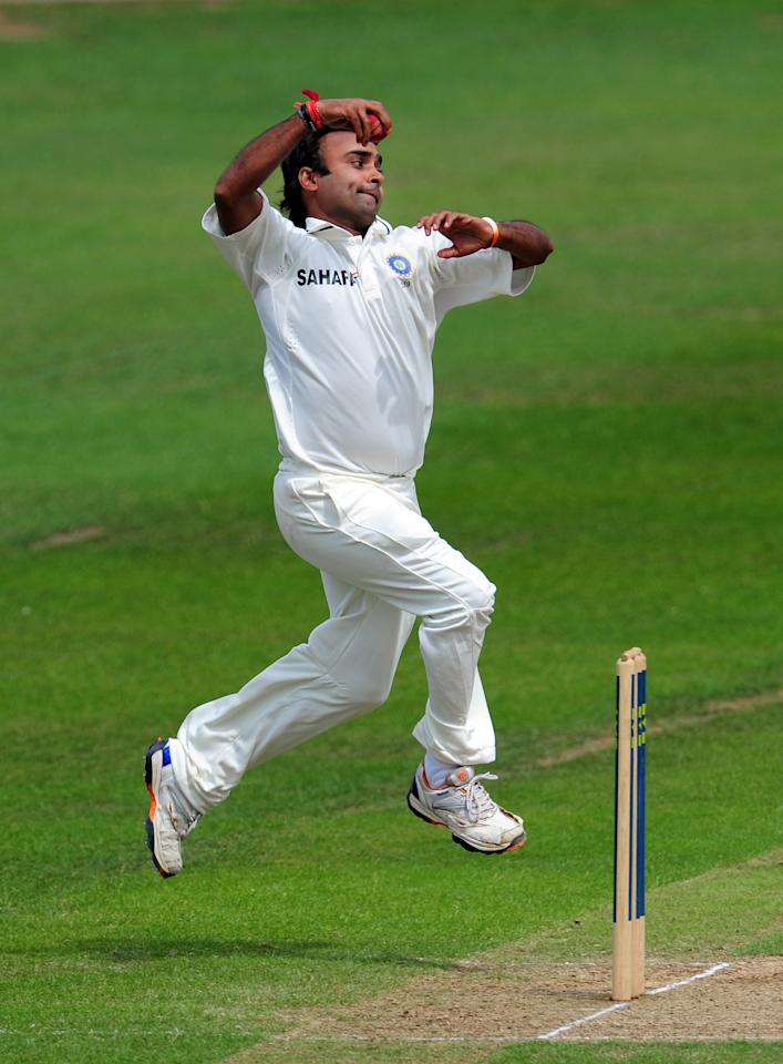 TAUNTON, ENGLAND - JULY 17:  India Amit Mishra in action during day three of the tour match between Somerset and India at the county ground on July 17, 2011 in Taunton, England.  (Photo by Stu Forster/Getty Images)
