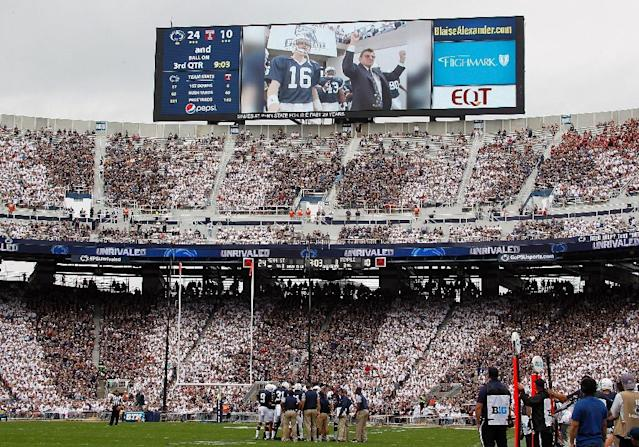 A tribute to former Penn State American football coach Joe Paterno sparked protests. (AFP Photo/Justin K. Aller)