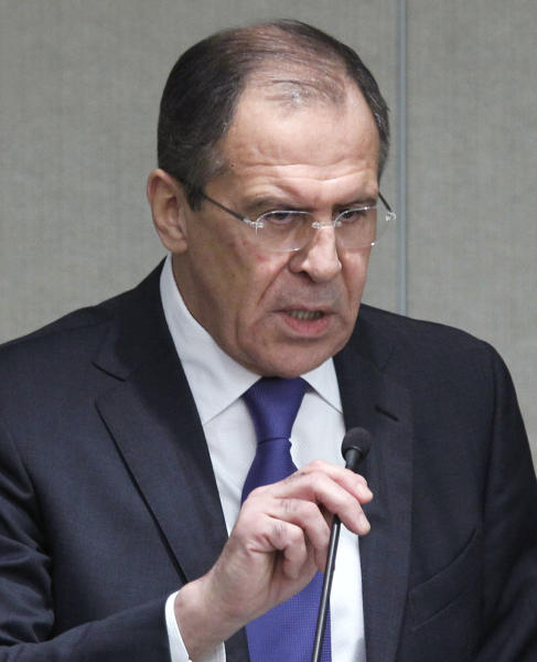 Russian Foreign Minister Sergey Lavrov speaks at the State Duma, the lower parliament chamber, Moscow, Russia, Wednesday, March 14, 2012. Lavrov says Moscow is providing Syria with weapons to fend off external threats but has no intention to use military force to protect Syrian President Bashar Assad. (AP Photo/Misha Japaridze)