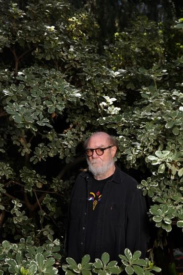 "Paul McCarthy outside his Altadena home late in May. <span class=""copyright"">(Dania Maxwell / Los Angeles Times)</span>"