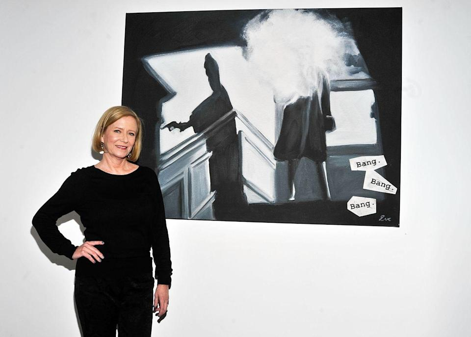 <p>Plumb returns to the screen occasionally, but she largely retired from acting and in the '90s began a career as an artist and painter. Here, Plumb is photographed with one of her pieces at her exhibition in New York City. </p>