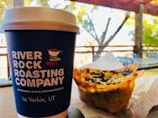 """<p><a href=""""https://foursquare.com/v/river-rock-roasting-company/501bf790e4b04266762e2ca5"""" rel=""""nofollow noopener"""" target=""""_blank"""" data-ylk=""""slk:River Rock Roasting Company"""" class=""""link rapid-noclick-resp"""">River Rock Roasting Company</a>, La Verkin</p><p>""""Great coffee shop. The Corn, green chili, bacon quiche (pic) is AWESOME!! Good sandwiches, muffins, cinnamon rolls & bread pudding. Ethiopian Yirgacheffe coffee is the BEST!! Great view outside patio"""" - Foursquare user <a href=""""https://foursquare.com/user/125375534"""" rel=""""nofollow noopener"""" target=""""_blank"""" data-ylk=""""slk:Brad Hager"""" class=""""link rapid-noclick-resp"""">Brad Hager</a></p>"""