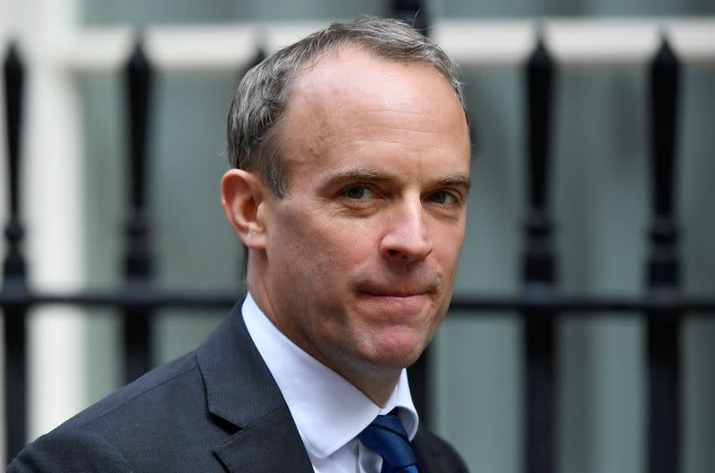 Britain's Foreign Affairs Secretary Dominic Raab is seen outside Downing Street in London