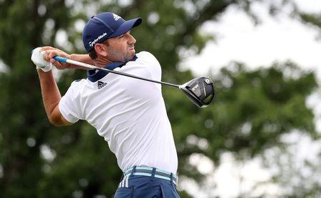 FILE PHOTO: Jun 17, 2017; Erin, WI, USA; Sergio Garcia plays his shot from the fourth tee during the third round of the U.S. Open golf tournament at Erin Hills. Mandatory Credit: Michael Madrid-USA TODAY Sports