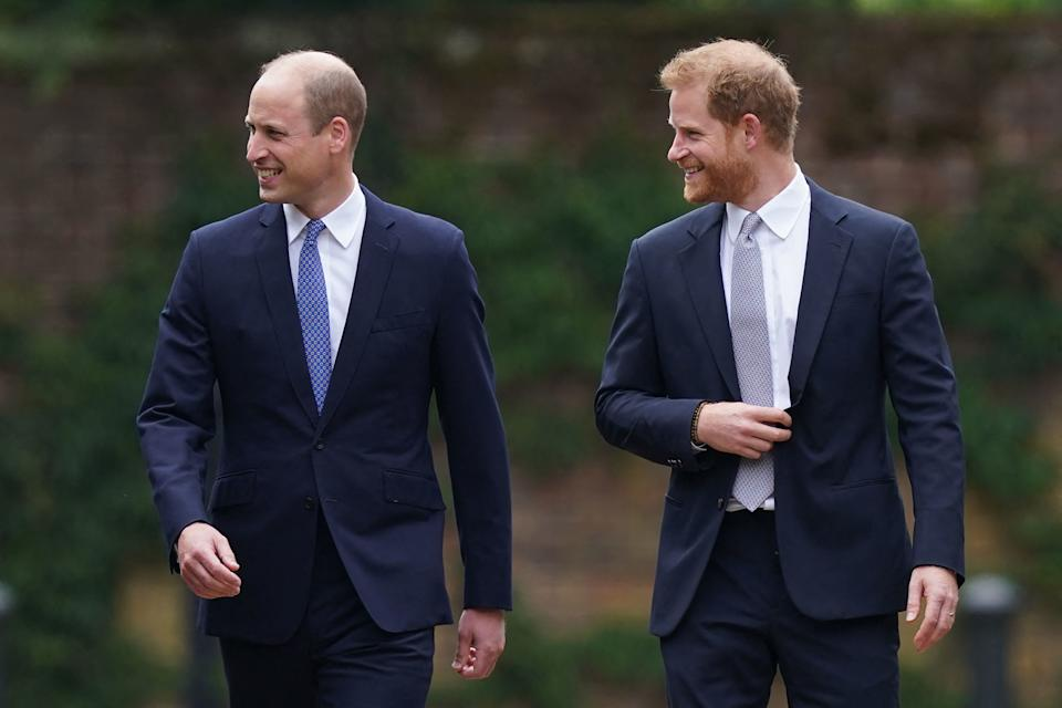 Princes William and Harry in suits