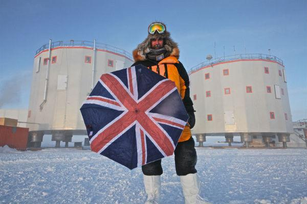 Alexander Kumar stands outside Concordia in early 2012. He is spending an entire year at the remote European Antarctic outpost.