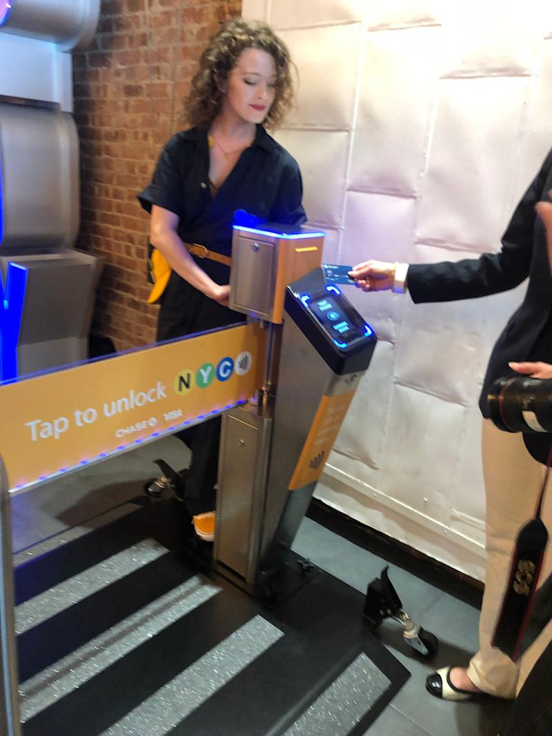 Visa and Chase demonstrate how you can tap and pay starting May 31 at select New York City subway stations.