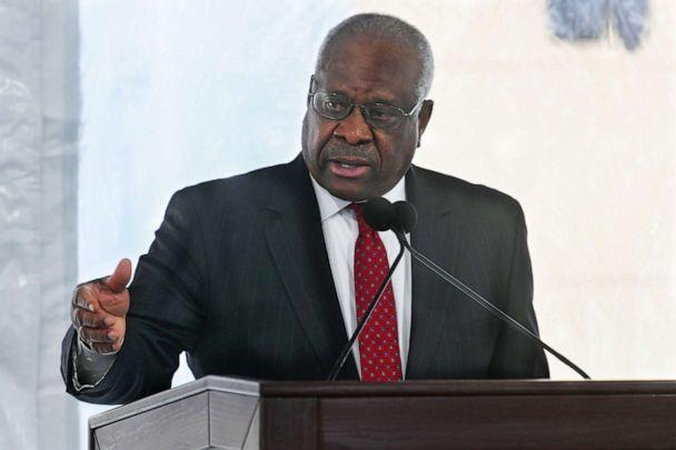 PHOTO: Supreme Court Justice Clarence Thomas delivers a keynote speech during a dedication of Georgia new Nathan Deal Judicial Center in Atlanta, Feb. 11, 2020. (John Amis/AP, FILE)