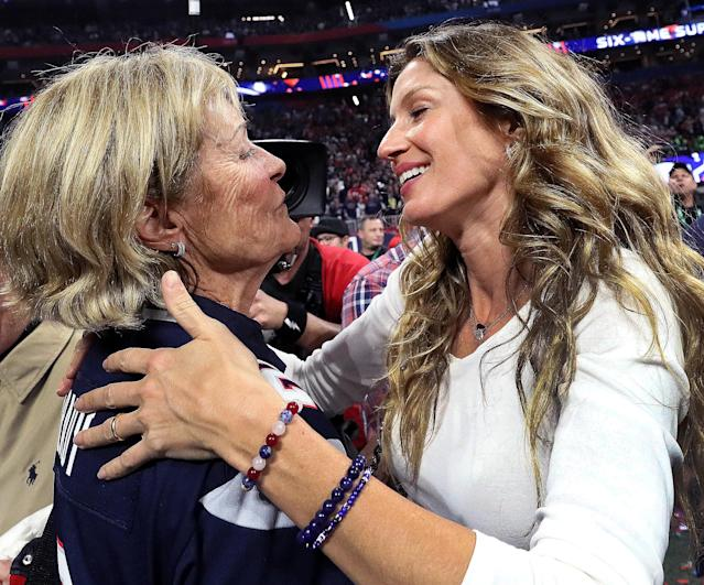 <p>New England Patriots quarterback Tom Brady's mother Galynn Patricia Brady hugs Brady's wife Gisele Bundchen after the game. New England Patriots won Super Bowl LIII at Mercedes-Benz Stadium in Atlanta on Feb. 03, 2019. (Photo by Barry Chin/The Boston Globe via Getty Images) </p>