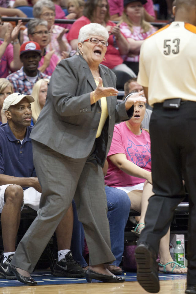 Indiana Fever head coach Lin Dunn yells to referee Jeff Smith (53) during the second half of a WNBA basketball game against the Minnesota Lynx, Saturday, Aug. 24, 2013, in Minneapolis. Minnesota won 84-77. (AP Photo/Paul Battaglia)