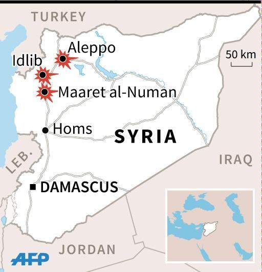 Map of Syria locating the latest deadly airstrikes on schools and hospitals in Syria. (AFP Photo/Thomas SAINT-CRICQ)