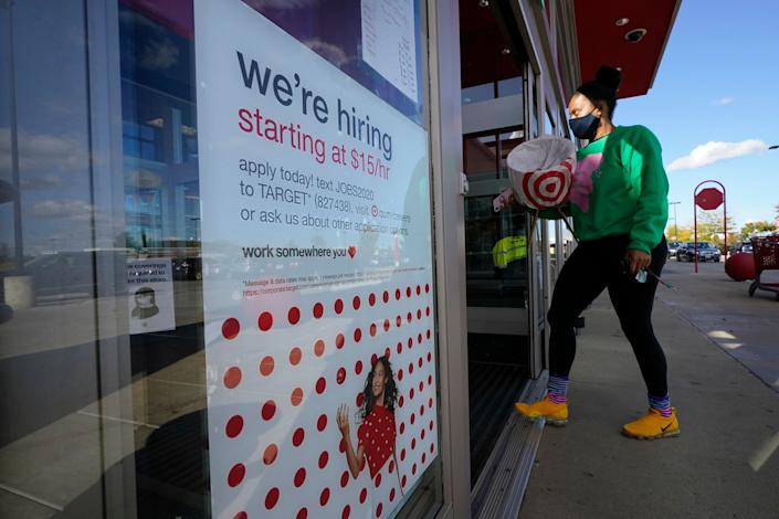 This Target store in Westwood, Massachusetts, was apparently hiring on Sept. 30, 2020, but the prospects weren't great at many other businesses. (Photo: AP Photo/Steven Senne)