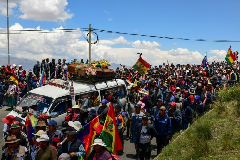 A funeral procession for five supporters of Bolivia's ex-president Evo Morales, killed when security forces lifted a siege on a fuel plant