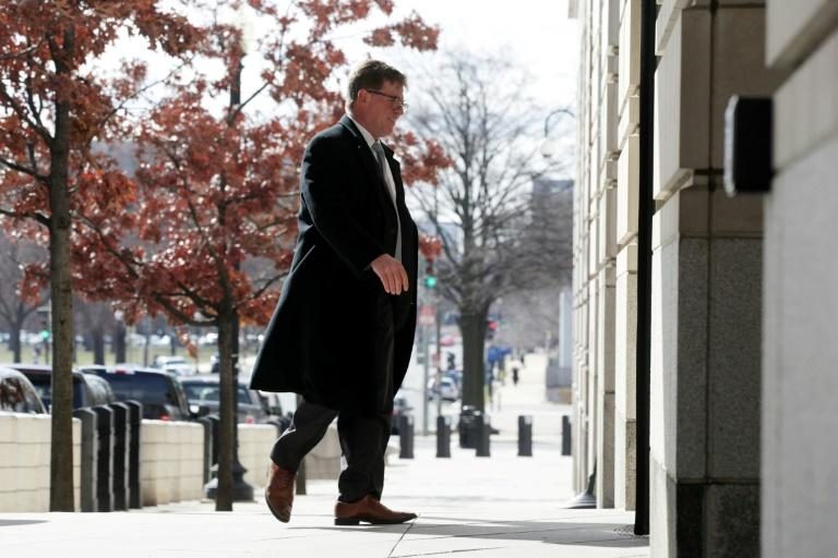 Charles Swift, director of the Constitutional Law Center for Muslims in America and lawyer for Islamic State group recruit Hoda Muthana, enters a Washington courthouse in March 2019