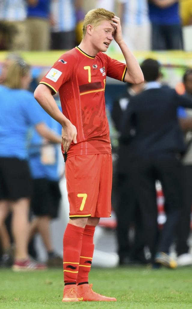 Belgium's Kevin De Bruyne reacts to his team's loss after their 2014 World Cup quarter-finals against Argentina at the Brasilia national stadium in Brasilia July 5, 2014. REUTERS/Dylan Martinez (BRAZIL - Tags: SOCCER SPORT WORLD CUP)