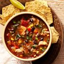 <p>Who wouldn't want to eat their vegetables when they're tucked into a fragrant broth with bits of tasty chicken and spiked with a shot of fresh lime and cilantro? This healthy chicken vegetable soup seems even richer with the smoky flavor from roasted poblano peppers and garlic. Serve this healthy chicken soup recipe with tortilla chips.</p>