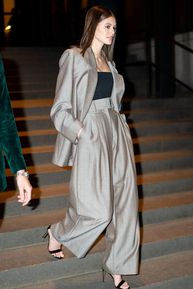 <p><strong>April 2019</strong> Kaia Gerber also opted for tailoring at Marc Jacobs' wedding, in a slouchy silver suit.</p>
