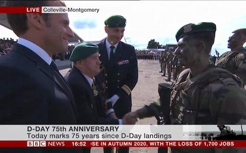 The Commando and Gautier shake hands and have a short conversation - Credit: BBC