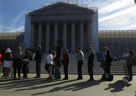 People line up for admission at the U.S. Supreme Court in Washington