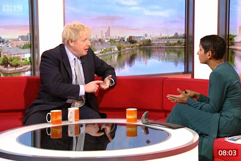 Prime Minister Boris Johnson during an interview with Naga Munchetty: BBC