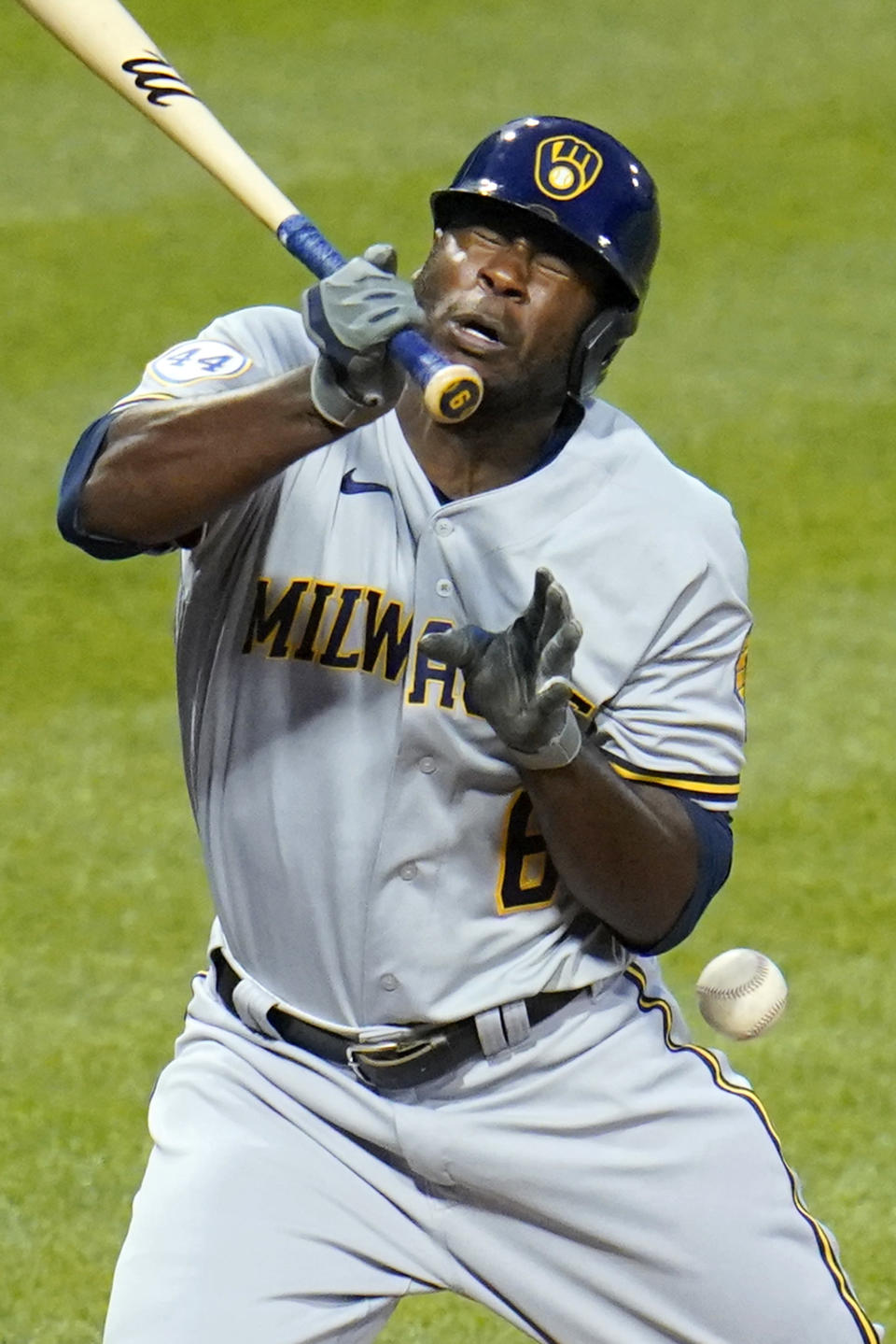 Milwaukee Brewers' Lorenzo Cain is hit by a pitch from Pittsburgh Pirates starting pitcher Max Kranick during the sixth inning of a baseball game in Pittsburgh, Wednesday, July 28, 2021. (AP Photo/Gene J. Puskar)