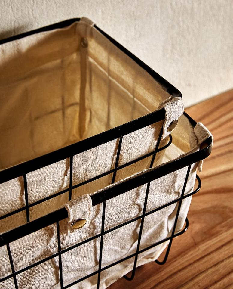 "<p>Calling all fans of modern farmhouse style, these iron storage baskets were made for you. Plus, the cotton liners are machine washable, so keeping them looking neat is a snap. </p> <p><strong>To buy: </strong>From $20, <a href=""https://www.zarahome.com/us/storage-basket-c0p301488360.html?srch=true"" target=""_blank"">zarahome.com</a>. </p>"