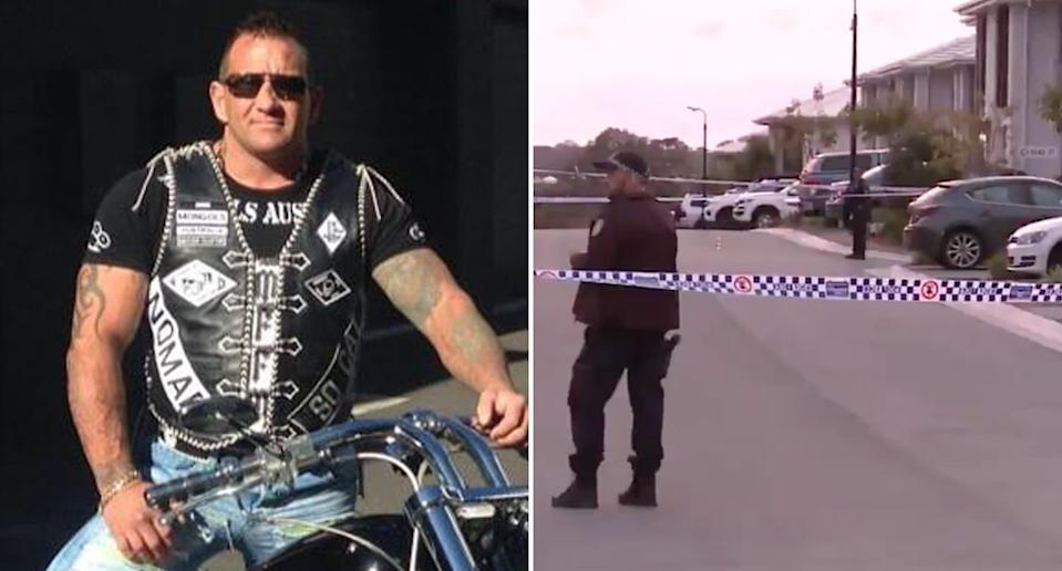Pictured left is Shane Bowden, a Mongols bikie who has been shot dead on the Gold Coast (right are police at the scene).
