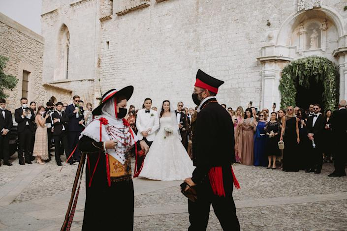The Bal Payés, a traditional dance from the 17th century in Ibiza, which displays a courtship between the man and woman as they dance together. Aram and I really wanted to pay homage to the island we love and show our guests this special dance that only exists in Ibiza.