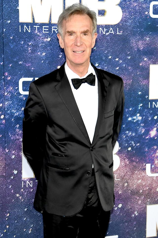 "The beloved scientist and former host of <i>Bill Nye the Science Guy</i> <a href=""https://people.com/movies/bill-nye-believes-in-aliens-men-in-black/"">explained his hypothesis</a> at the premiere of <a href=""https://people.com/movies/men-in-black-international-trailer-tessa-thompson-chris-hemsworth/""><em>Men in Black: </em></a><em><a href=""https://people.com/movies/men-in-black-international-trailer-tessa-thompson-chris-hemsworth/"">International</a> </em>in New York City in June 2019.  During the premiere, Nye posted a selfie on Twitter in which he wore sunglasses to match <em>Men in Black </em>stars <a href=""https://people.com/tag/chris-hemsworth/"">Chris Hemsworth</a> and <a href=""https://people.com/tag/tessa-thompson/"">Tessa Thompson</a>.  ""At <em>Men In Black</em> premiere,"" he wrote. ""There are 200 billion stars in our galaxy. That's likely 2 trillion planets. Aliens gotta be out there…"""