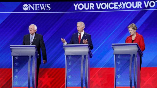 PHOTO: Democratic presidential candidates Benrie Sanders, Joe Biden and Elizabeth Warren take part in the a debate at Texas Southern University, Sept. 12, 2019, in Houston, Texas. (Heidi Gutman/Walt Disney Television, FILE)