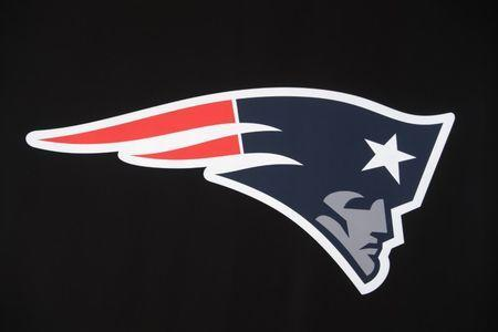 Jan 31, 2017; Houston, TX, USA; New England Patriots logo on display at the NFL Experience at the George R. Brown Convention Center. Kirby Lee-USA TODAY Sports