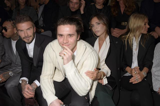 David Beckham, Brooklyn Beckham and Victoria Beckham (Getty)